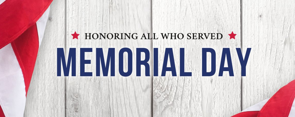 imgMemorial Day, Monday, May 27th